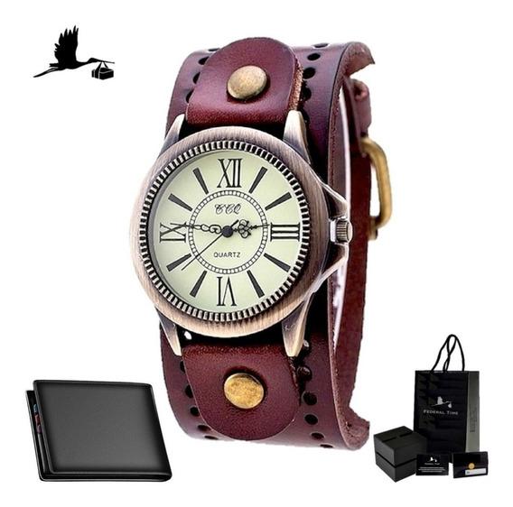Relógio Masculino De Couro Moda Numeros Romanos + Carteira