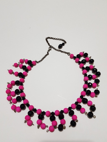 Collar Rosa Y Negro Arlequin Fantasia
