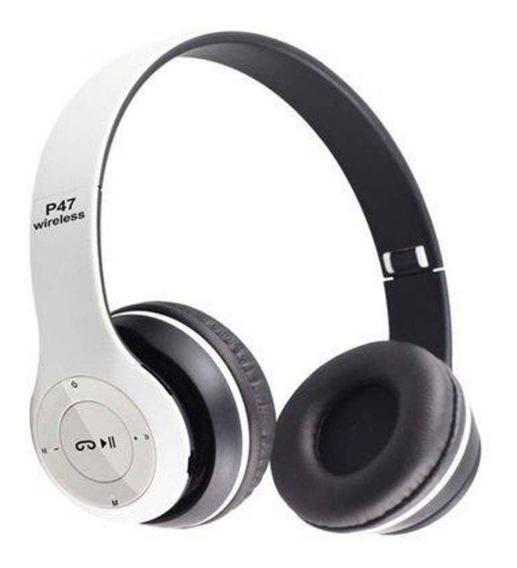 Fone De Ouvido Sem Fio Bluetooth Dobrável P47 - Branco