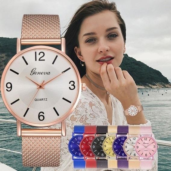 1 Relógio Feminino Geneve Pulseira De Aço + 1 Masculino