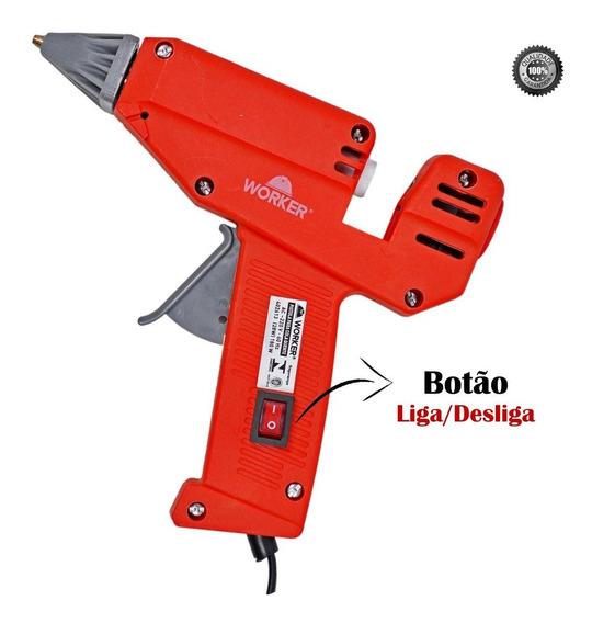 Pistola De Cola Quente Profissional 180w C Botão Worker 220v