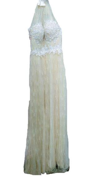 Vestido 15 Largo Escote Marilyn Guipiur Talle S Sabah Desing