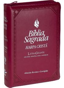 Bíblia Com Harpa Cristã Letra Gigante Índice Zíper Vinho