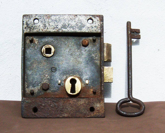 Historical*-antigua Enorme Cerradura Ffcc-llave 16 Cm-envío