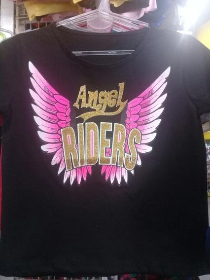 Remera Pupera Juvenil Talle Unico Angel Riders Estampadas