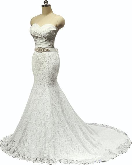 Vestido Novia Importado Encaje Blanco