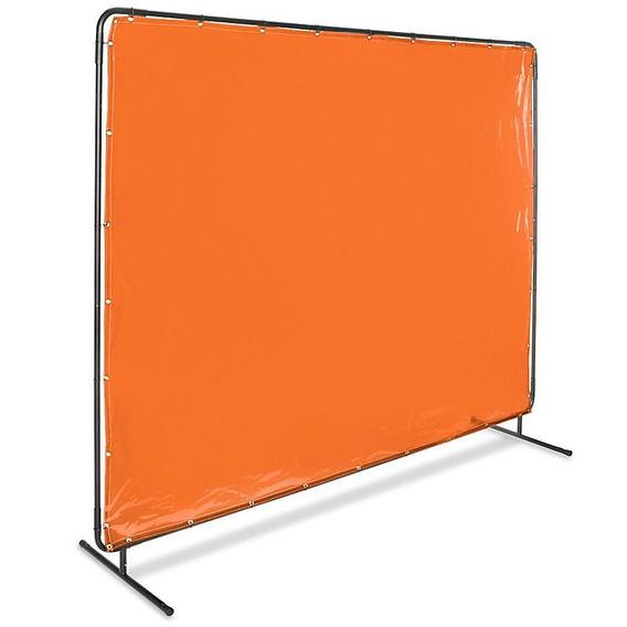 Pantalla De Acero Con Cortina Naranja Para Soldadura 182x243