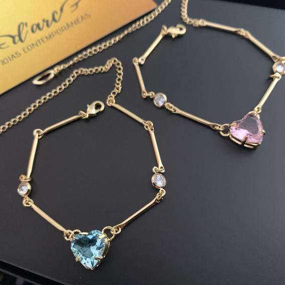 Pulseira Feminina Coração Banhado A Ouro 18k Com Tiffanys