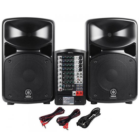 Caixa Ativa C/ Bluetooth Yamaha Pa Portatil Stagepas 400bt