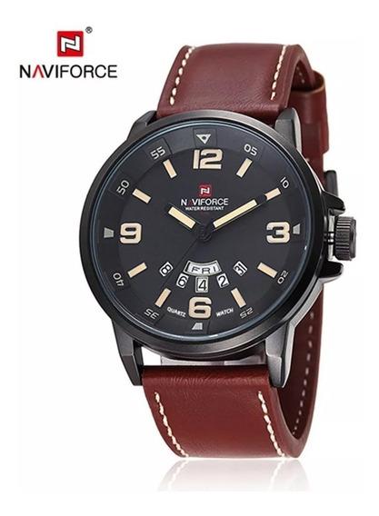 Relógio Masculino Naviforce 9028 Original Couro Marrom Lindo