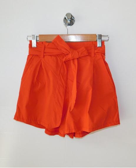 Short Bengalina Elastizada Rojo Liso Lazo Bolsillo Mujer Mc