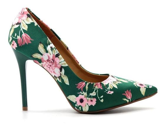 Scarpin Royalz Tecido Floral Salto Alto Fino Cravo Verde