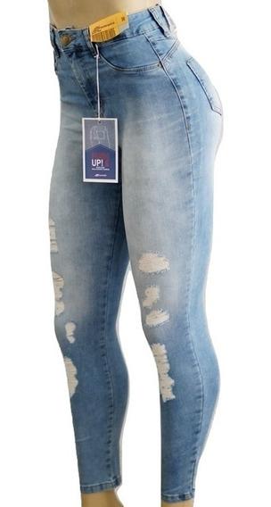 Calça Jeans Sawary Cintura Alta Destroyed Rasgada Original