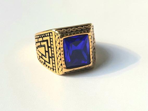 Anillo Dorado Del Mumero 10 De Oro Laminado Con Piedra Azul
