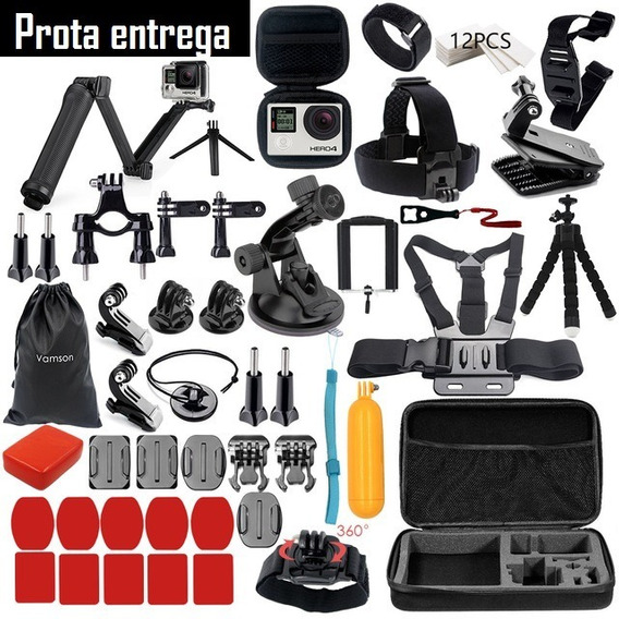 Kit De Acessorios Gopro Maleta Case Hero 5/4/3 Black Silver