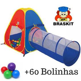 Barraca Toca Infantil 2 Em 1 Com 60 Bolinhas Túnel Braskit