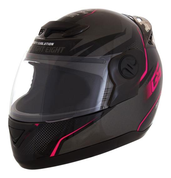 Capacete Moto Fosco Com Rosa Feminino Top Factory Protork 58