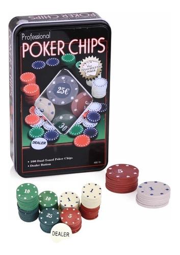 Set Poker 100 Fichas Caja Metal Poker Chips Juegos Mesa Pk1