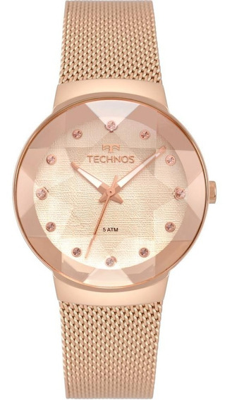 Relógio Feminino Technos Crystal 2035mpx/5t 34mm Aço Rose