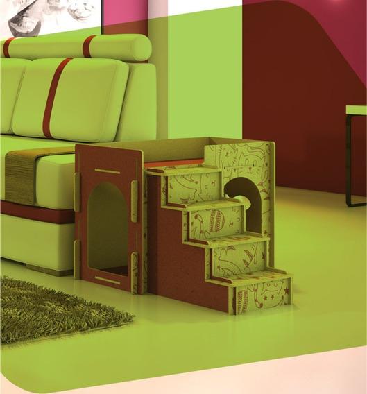 Casinha De Gato Com Almofada E Escada Em Mdf Promoção