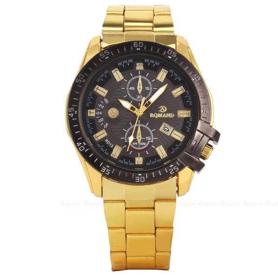 Relógio Masculino Luxo/esporte Dourado Inox Rqmand Original