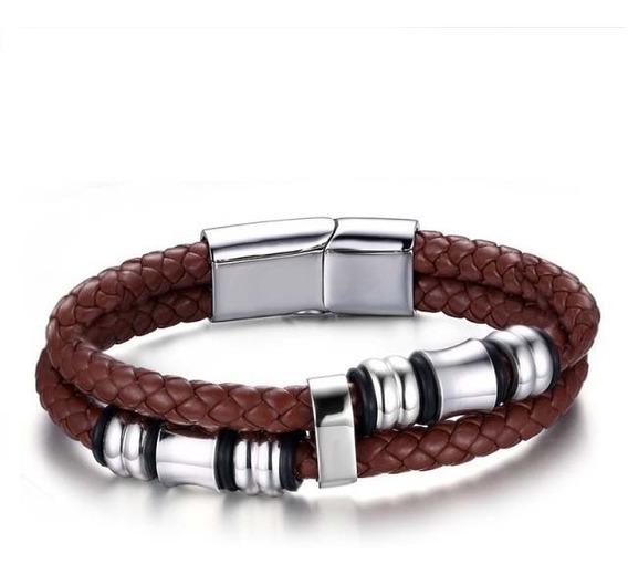Bracelete Masculino Pulseira De Couro Marrom Luxo Promoção