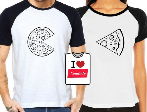 Camisetas Pizza Casal Fome Namorados Kit Com 4 Camisetas