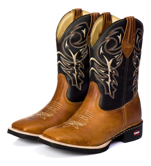 Bota Country Texana Masculina Bico Quadrado Couro Legítimo