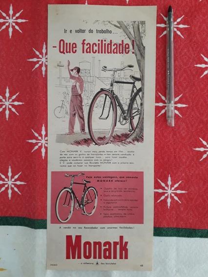 Recorte Propaganda Antiga Bicicleta Monark V 1957 Publicidad