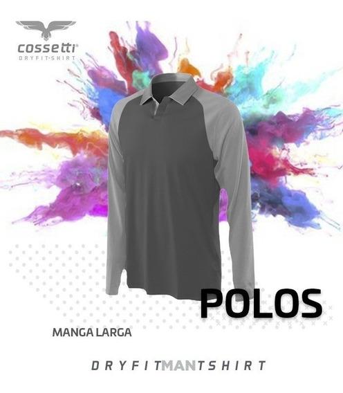 Playera Tipo Polo Cossetti Manga Larga Dry Fit Tallas Extra