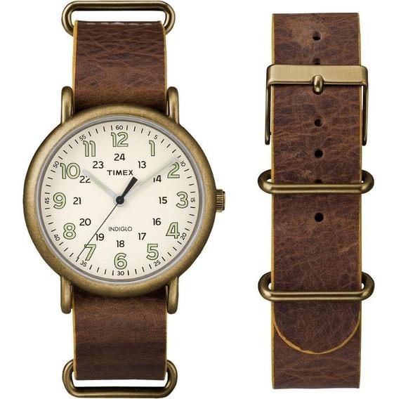 Timex Hombre Weekender Tw2p85700 Reloj Correa Marrón Antiguo