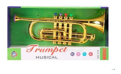 Instrumento Musical, Trompeta Para Niña O Niño Color Dorado