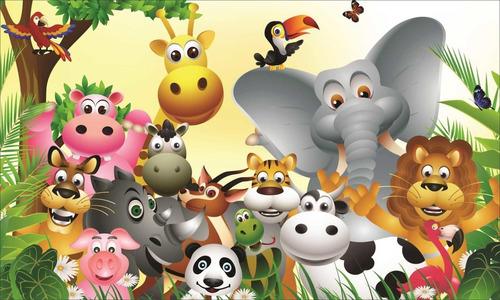 Painel Lona E Saia Mesa Safari Festa Infantil + Nome