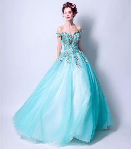 Vestido Xv Años Aqua Bordado Flores Envió Gratis ! L2324