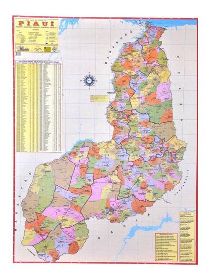 Mapa Geo Político E Rodoviário Gigante Do Estado Do Piauí