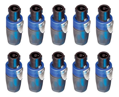 Kit 10 Conector Speakon Femea 4 Polos C/ Trava Nl4fx Neutrik