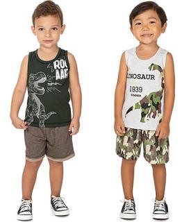 Roupa Bebê Infantil Menino Kit 2 Conjuntos Curto Verão Dino