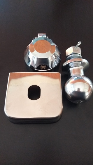 Kit Acessórios Para Engate De Reboque(bola,tomada,capa Inox)