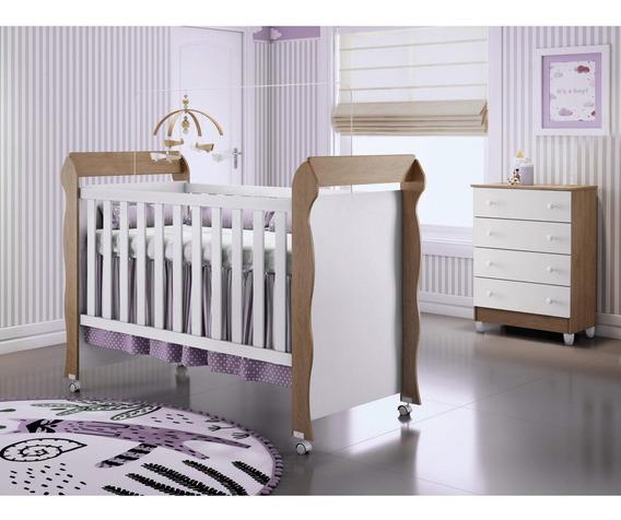 Quarto De Bebê Com Comoda 4 Gavetas E Berço Mirelle Hf