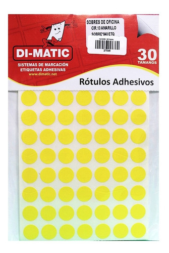 Rótulos Adhesivos, Círculos Amarillo Ref 13 Dimatic.