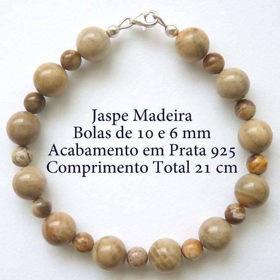 Pulseira De Prata 925 Com Garantia E Jaspe Madeira 5380