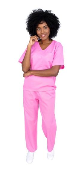 Pijama Cirúgico Feminino Oxford Rosa Clássico