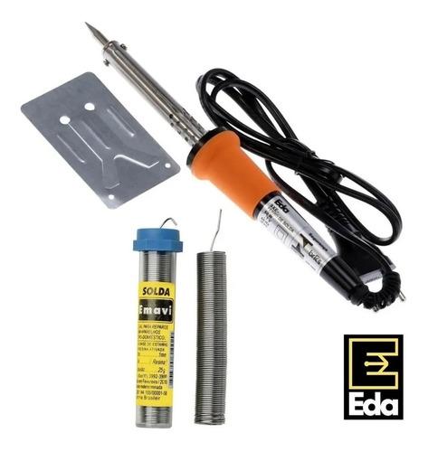 Kit Ferro De Solda 60w C/ Inmetro 220v + Tubo De Estanho Eda