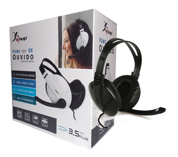 Headphone Inclui Microfone Preto Knup Sim Frete Grátis