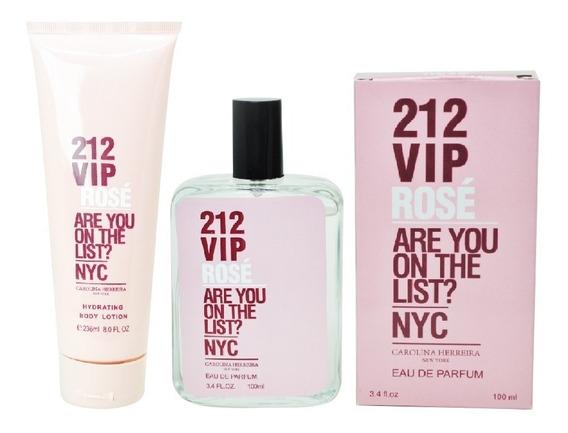 Creme 236ml + Perfume 100ml Importado 212 Vip Rosé Feminino