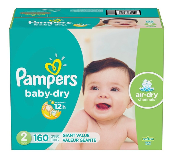 Pañales Pampers Baby Dry, Talla 2, 160 Pzs