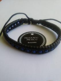 Pulsera Cuero Negro Y Azul Trenzado