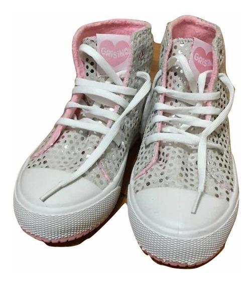 Zapatillas N 29 Brillos Plateados Grisino Nuevas
