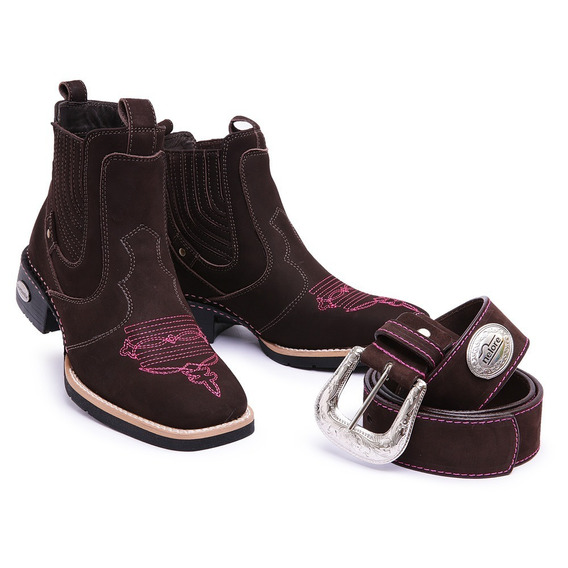 Bota Country Candieiro Botina Texana Couro Kit Com Cinto