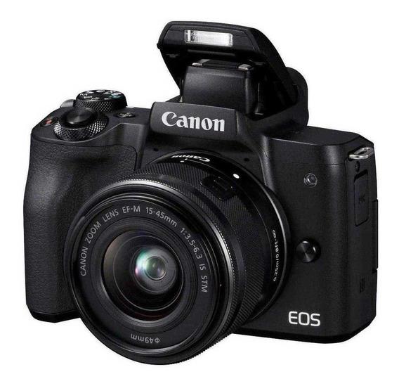 Kit Canon Eos M50 Preta + 1 Bateria Extra + Sd 16gb
